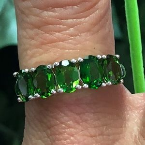 925 Sterling Silver Russian Chrome Diopside Ring